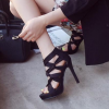 Women's Black Strappy Stiletto Heels Open Toe sandals thumb 5