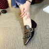 Black Studs Shoes Loafers for Women Pointy Toe Vintage Fringe Flat thumb 5