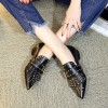 Black Studs Shoes Loafers for Women Pointy Toe Vintage Fringe Flat thumb 8