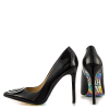4 Inch Heels Black Smiley Office Heels Pointy Toe Stiletto Heels thumb 2