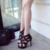 Women's Black Strappy Stiletto Heels Open Toe sandals thumb 6