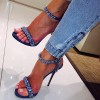 Blue Jean Heels Rhinestone Ankle Strap Denim Stiletto Heel Sandals thumb 2