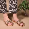 Brown Jeweled Sparkly Sandals Flat Summer Beach Flops thumb 2