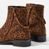 Brown Leopard Print Boots Flat Ankle Boots with Strap thumb 3