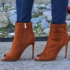 Tan Boots Suede Stiletto Boots Peep Toe Ankle Boots for Women thumb 2