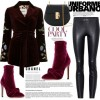 Burgundy Ankle Booties Stiletto Heel Velvet Boots with Bow thumb 5