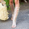 Silver Gladiator Sandals Knee-High Comfortable Flats for Women thumb 3