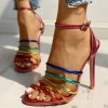 Colorful Multi-strap Ankle Strap Heels Sandals thumb 2