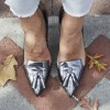 Women's Sliver Grey Kitten Heels Pointy Toe pumps with Tassel thumb 2