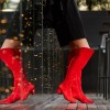 Fashion Red Tassels Suede Long Boots Chunky Heels Over-the-knee Boots thumb 4