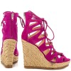 Fuchsia Wedge Sandals Vegan Suede Peep Toe Lace up Platform Wedges thumb 5