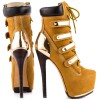 Women's Mustard Buckle Lace Up Platform Boots Stripper stiletto heels thumb 4