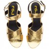 Women's Golden  Ankle Strap Buckle Platform Chunky Heel Sandals thumb 5