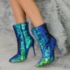 Green Sequined Stiletto Heel Fashion Boots thumb 2