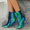 Green Sequined Stiletto Heel Fashion Boots thumb 4