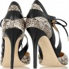 Light Grey Lace up Heels Snake Skin Stiletto Heel Pumps thumb 4