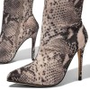 Grey Snakeskin Boots Pointed Toe Stiletto Heel Thigh High Boots thumb 3