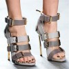 Grey Vegan Shoes Open Toe Multi-buckle Blade Heel Sandals thumb 2