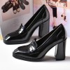 Black Patent Leather Block Heel Square Toe Heeled Loafers for Women thumb 4