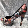 Women's Harley Quinn Comic Floral Platform Stiletto Heels Pumps for Halloween thumb 3