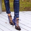 Blue and Dark Brown Lace up Sandals Suede Stiletto Heels for Women thumb 3