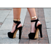 Black and Gold Ankle Strap Sandals Platform Chunky Heels thumb 2