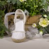 Ivory Canvas Platform Wedding Wedges with Pearls and Mesh thumb 2