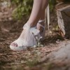 Lace White Wedding Shoes Wedges Bridal Heels Platform Sandals thumb 4