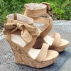 Khaki Cork Wedges Open Toe Suede Side Bow Platform Sandals thumb 2