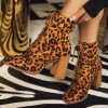 Leopard Print Boots Chunky Heel Lace Up Ankle Boots thumb 3