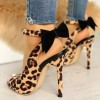 Leopard Print Heels Ankle Strap Bow Pumps thumb 2