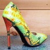 Multi-color Stiletto Heels Colorful Python Pointy Toe Pump Dress Shoes thumb 6