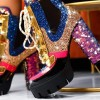Multi Color Lace up Boots Glitter Sequined Chunky Heel Ankle Boots thumb 2