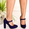 Navy Suede Mary Jane Pumps Round Toe Chunky Heels Vintage Shoes thumb 2