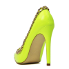 Neon Yellow Pointy Toe Stiletto Heels Pumps with Chain thumb 2