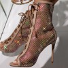 Nude Lace Up Boots Nets Rhinestone Stiletto Heel Ankle Boots thumb 3