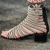 Pearls Gladiator Heels Open Toe Mid-calf Chunky Heels Sandals thumb 2