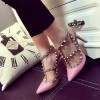 Pink T Strap Heels Patent Leather Rock Studs Slingback Pumps thumb 2