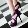 Purple Wedding Sandals Cross Ankle Strap Platform Sandals with Bow thumb 3
