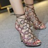 Python Strappy Sandals Open Toe 3 Inch Stiletto Heels for Women thumb 3