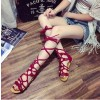 Red Gladiator Sandals Strappy Flats thumb 2