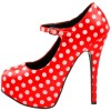 Red Polka Dots Mary Jane Pumps Vintage Heels with Platform thumb 2