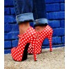 Red Polka Dots Mary Jane Pumps Vintage Heels with Platform thumb 3