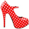 Red Polka Dots Mary Jane Pumps Vintage Heels with Platform thumb 4