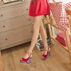 Red Floral Heels Peep Toe Crisscross Strap Slingback Heeled Wedges thumb 4
