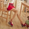 Red Floral Heels Peep Toe Crisscross Strap Slingback Heeled Wedges thumb 2