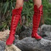 Women's Red Gladiator Boots Strappy Flat Knee-high Lace Up Boots thumb 2