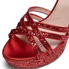 Red Glitter Shoes Platform Chunky Heel Sandals thumb 2
