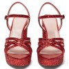 Red Glitter Shoes Platform Chunky Heel Sandals thumb 5