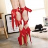 Red Stripper Heels Suede Lace up Platform Pumps High Heel Shoes thumb 3